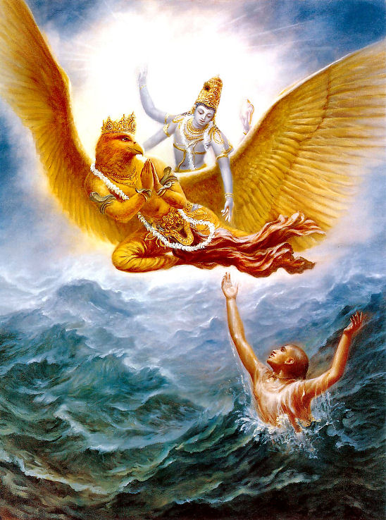 Krishna saving his devotee from the ocean material miseries